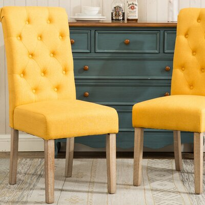 Sabanc Solid Wood Button Tufted Side Chair Upholstery: Yellow