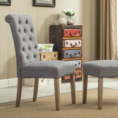 Kenleigh Solid Wood Button Tufted Side Chair Upholstery: Gray