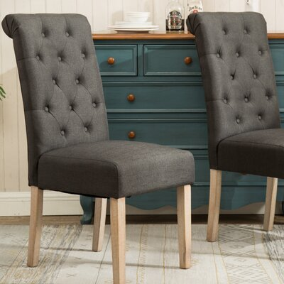 Kenleigh Solid Wood Button Tufted Side Chair Upholstery: Charcoal
