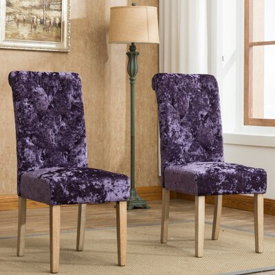 Toland Button Tufted Upholstered Dining Chair Upholstery Color: Purple