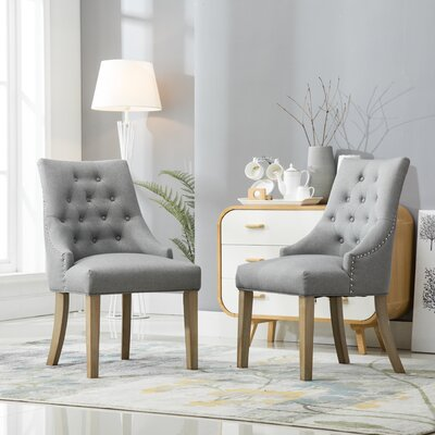 Pena Button Tufted Wingback Hostess Upholstered Dining Chair Upholstery Color: Gray