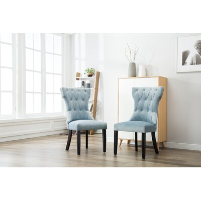 Ottley Tufted Upholstered Dining Chair Upholstery Color: Blue