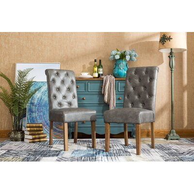 Elda Tufted Upholstered Dining Chair Upholstery Color: Gray