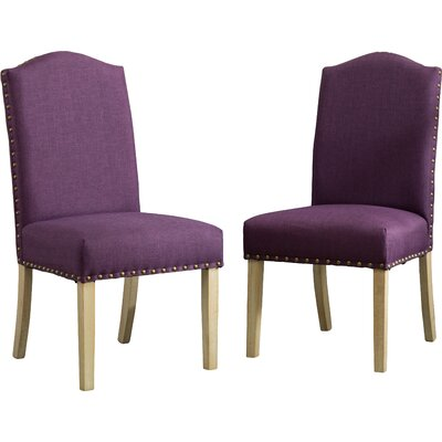 Mod Urban Style Solid Wood Nailhead Fabric Padded Parson Chair Upholstery: Purple