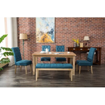 Galsworthy 6 Piece Dining Set Color: Blue