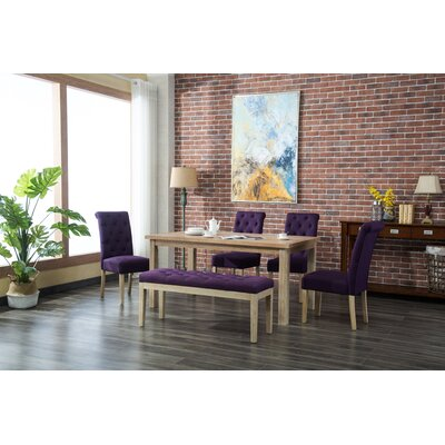 Galsworthy 6 Piece Dining Set Color: Purple