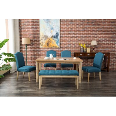 Hannam 6 Piece Dining Set Color: Blue