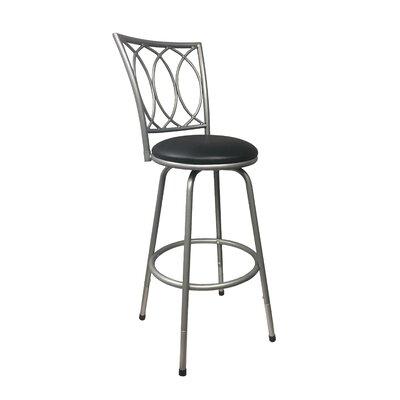 Lanark Adjustable Height Swivel Bar Stool Color: Silver, Upholstery: Black