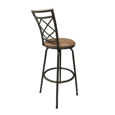 Gettysburg Adjustable Height Swivel Bar Stool Base Color: Sliver, Upholstery: Leather - Black
