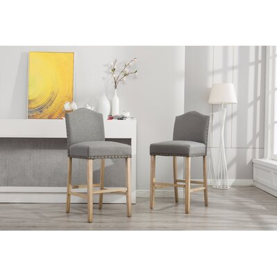 Clarrie 30.25 Bar Stool Upholstery: Gray