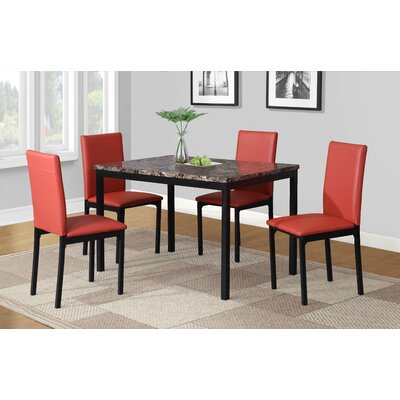Noyes Dining Set Chair Color: Red