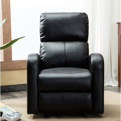 Bayerl Contemporary Push Button Recliner Color: Black