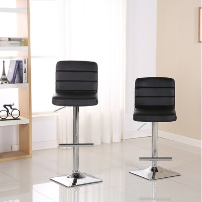 Presque Adjustable Height Swivel Bar Stool Color: Black