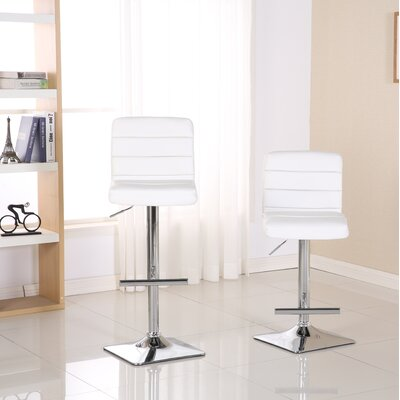 Presque Adjustable Height Swivel Bar Stool Color: White