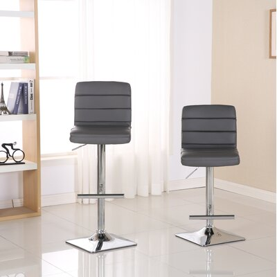 Presque Adjustable Height Swivel Bar Stool Color: Gray