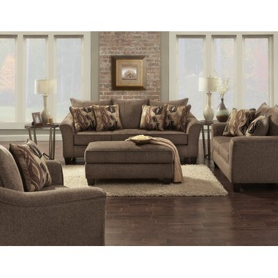 Driskill 4 Piece Living Room Set Upholstery: Brown