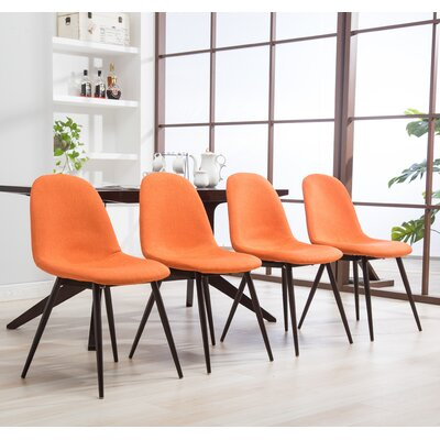 Crotts Upholstered Dining Chair Upholstery Color: Orange