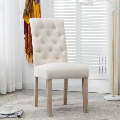 Alethea Binningen Button Tufted Upholstered Dining Chair Upholstery Color: Tan