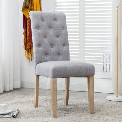 Alethea Binningen Button Tufted Upholstered Dining Chair Upholstery Color: Gray