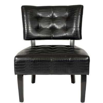 Anjotiya Slipper Chair Upholstery: Black Crocodile