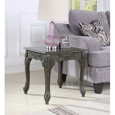 Longoria Traditional Ornate Detailing Wood End Table Color: Gray