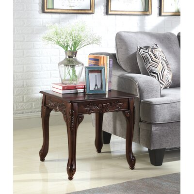 Longoria Traditional Ornate Detailing Wood End Table Color: Dark Cherry