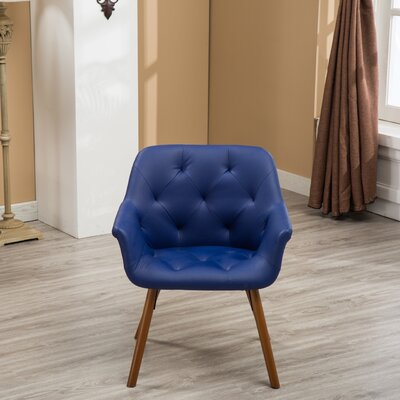 Yamada Diamond Tufted Accent Chair Upholstery: Blue
