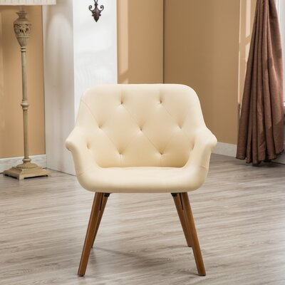 Yamada Diamond Tufted Accent Chair Upholstery: Ivory
