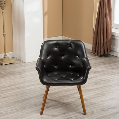 Yamada Diamond Tufted Accent Chair Upholstery: Black