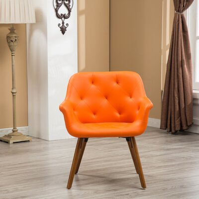 Yamada Diamond Tufted Accent Chair Upholstery: Orange