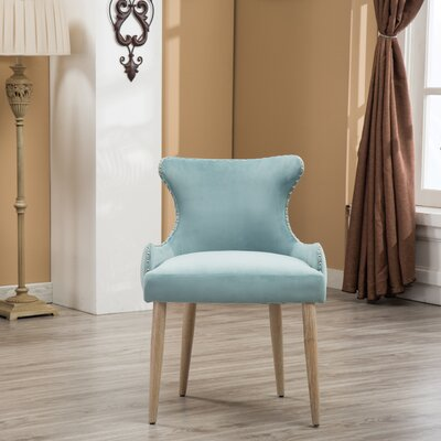 Shawnda Tufted Button Wingback Chair Upholstery: Blue