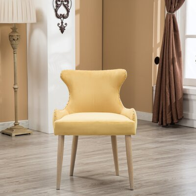 Shawnda Tufted Button Wingback Chair Upholstery: Yellow