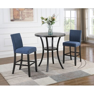 Amy 3 Piece Pub Table Set Color: Blue