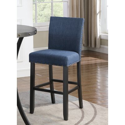 Amy Fabric 30 Bar Stool with Nailhead Trim Upholstery: Blue