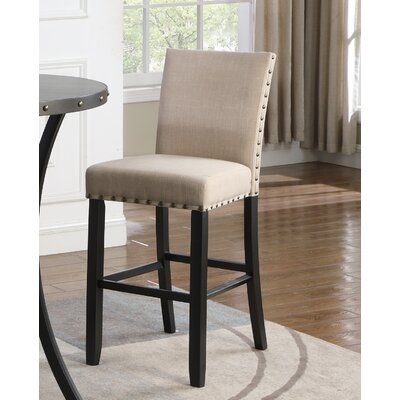 Amy Fabric 30 Bar Stool with Nailhead Trim Upholstery: Tan