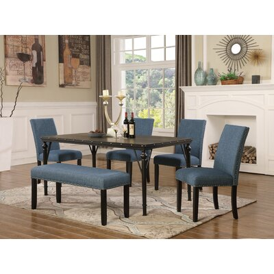 Amy 6 Piece Dining Set Color: Blue