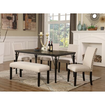 Amy 6 Piece Dining Set Color: Tan