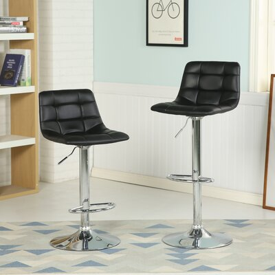 Iacovelli Adjustable Height Swivel Bar Stool Upholstery: Black