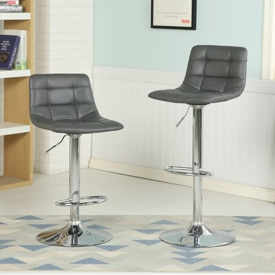 Iacovelli Adjustable Height Swivel Bar Stool Upholstery: Gray
