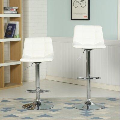 Iacovelli Adjustable Height Swivel Bar Stool Upholstery: White