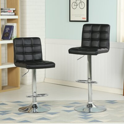 Ibanez Adjustable Height Swivel Bar Stool (Set of 2) Upholstery: Black