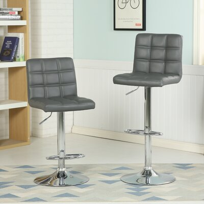 Ibanez Adjustable Height Swivel Bar Stool Upholstery: Gray
