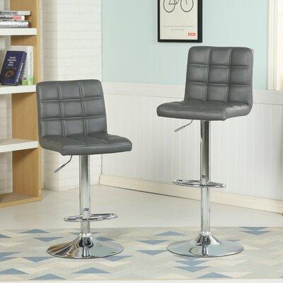Ibanez Adjustable Height Swivel Bar Stool (Set of 2) Upholstery: Gray