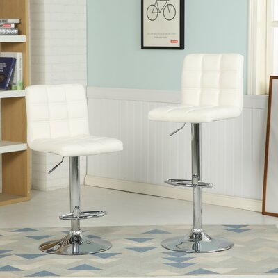 Ibanez Adjustable Height Swivel Bar Stool (Set of 2) Upholstery: White