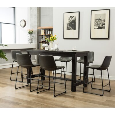 Bamey 7 Piece Counter Height Dining Set Color: Gray