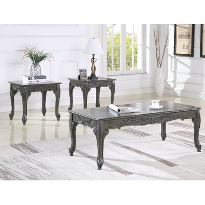 Oswego Wood 3 Piece Coffee Table Set Color: Gray