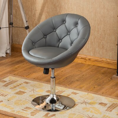Sarthak Contemporary Tufted Back Tilt Swivel Barrel Chair Upholstery: Gray