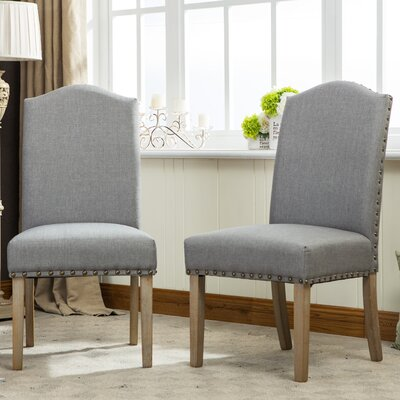 Kenleigh Urban Style Solid Wood Nailhead Fabric Padded Parson Chair Upholstery: Gray