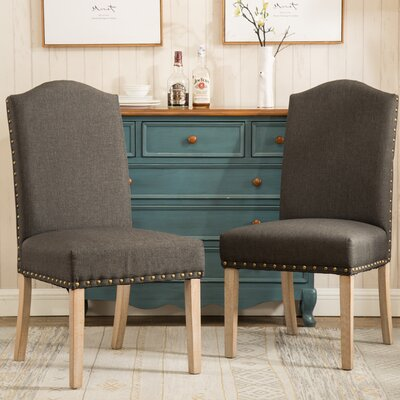 Kenleigh Urban Style Solid Wood Nailhead Fabric Padded Parson Chair Upholstery: Charcoal