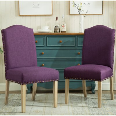 Kenleigh Urban Style Solid Wood Nailhead Fabric Padded Parson Chair Upholstery: Purple